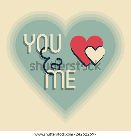 Me and You on retro heart shape designs icon with blended shadows - stock photo