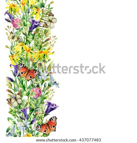 Meadow flowers and butterfly background. Watercolor wild flowers card. Flying butterfly and bell flower, clover, daisy, weeds and meadow herbs. Watercolor wild field. Hand painted floral illustration - stock photo