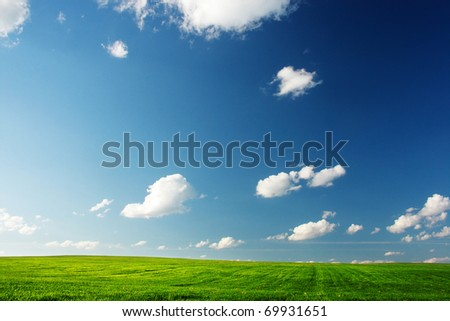 Meadow with a green grass and blue sky with clouds - stock photo
