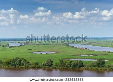 Meadows along the Oka River.  Ryazan region, Central Russia - stock photo