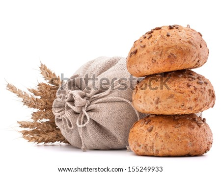 Meal sack, bread rolls and ears bunch still life isolated on white background cutout - stock photo