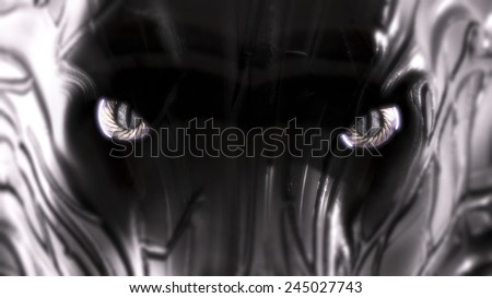 mean robot guard dog staring into the camera closeup - stock photo