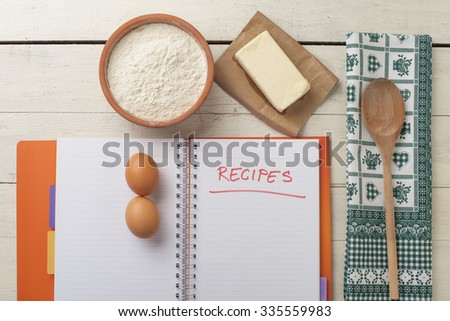 Means for making bread. Cook book for recipes - stock photo