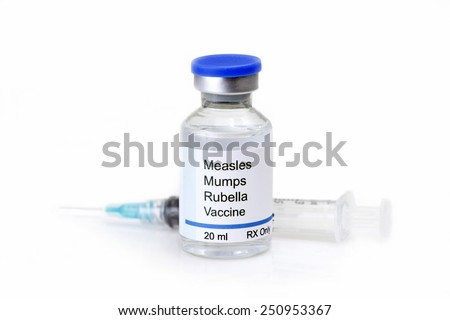Measles, mumps, rubella, virus vaccine and syringe on white background.   Label is fictitious, and any resemblance to any actual product is purely coincidental. - stock photo