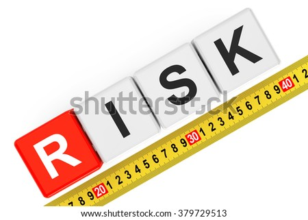 Measure Risk Concept. Risk Cubes with Measuring Tape on a white background - stock photo