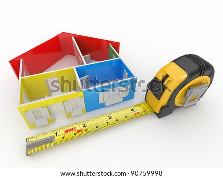 Measure tape and abstract three-dimensional  house. 3d - stock photo