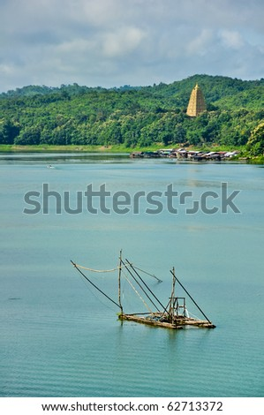 Measured in reservoir, in Thailand in Sangkraburi Kanchanaburi  in Morning - stock photo