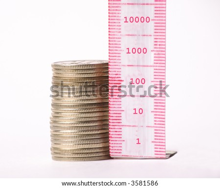 Measurement of money - stock photo