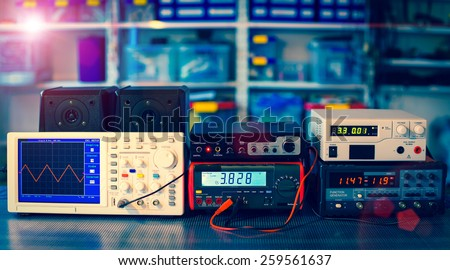 measuring devices in the physical laboratory - stock photo
