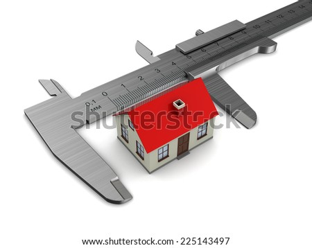 measuring house model, over white background - stock photo