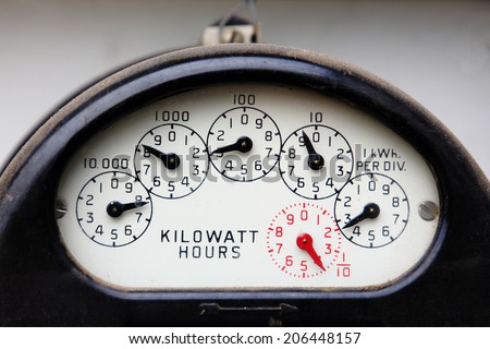 Measuring Kilowatt Hours - stock photo