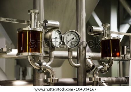 Measuring system for pressure of gases at the brewery. - stock photo