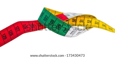measuring tape green, red, yellow on white background isolated - stock photo