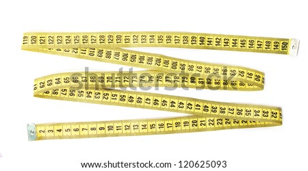 measuring tape in zigzag shape isolated - stock photo