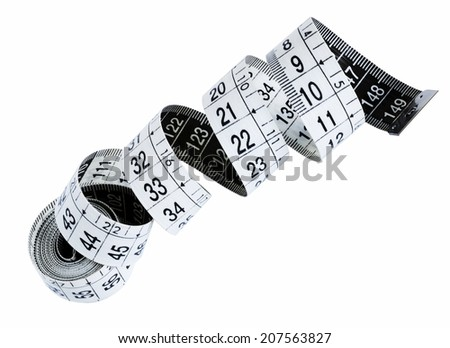 Measuring tape isolated on the white background - stock photo
