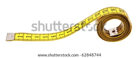 measuring tape,isolated on white with clipping path. - stock photo