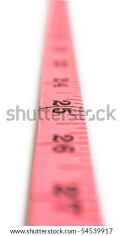 Measuring tape looking as vertical line isolated on white - stock photo