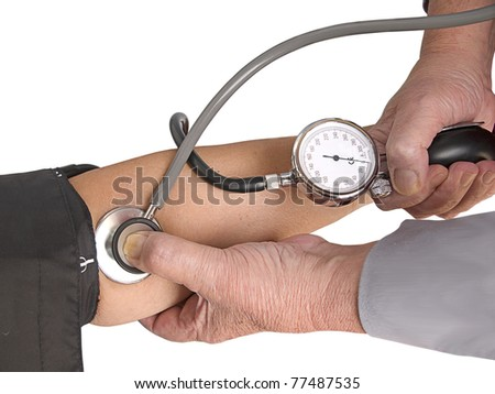 Measuring the blood pressure. Isolation - stock photo