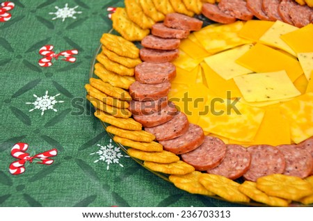 meat and cheese appetizer platter for Christmas party - stock photo