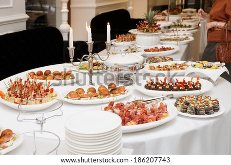 Meat and fish appetizers in a restaurant  - stock photo