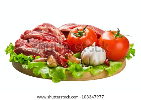 meat and fresh vegetables - stock photo