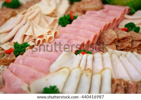 meat and salami - stock photo