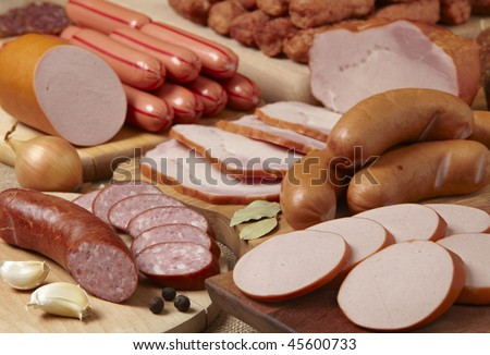 meat and sausages - stock photo