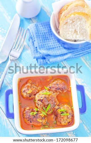meat balls with tomato sauce - stock photo
