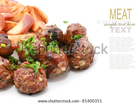 Meat Balls with Wedges or Chips - stock photo