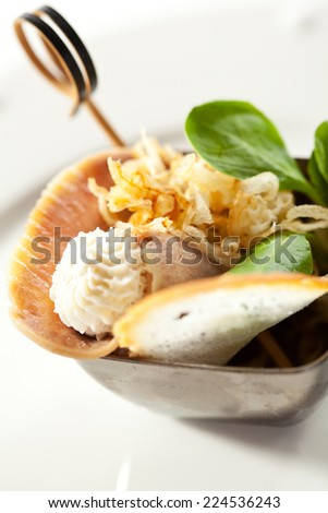 Meat Canape - Boiled Beef Tongue with Fried Onions - stock photo