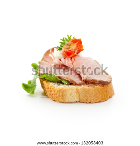 Meat Canapes - Roast Beef Medium with Sauce - stock photo
