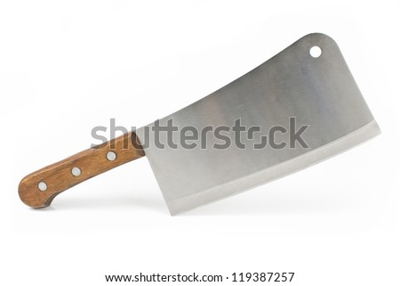 Meat cleaver knife isolated on white background - stock photo