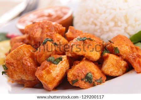 meat cooked with curry - stock photo