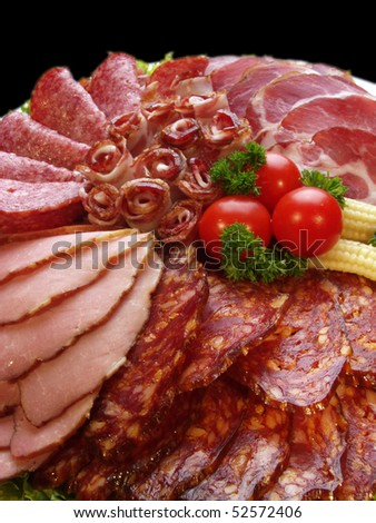 meat delicatessen plate - stock photo
