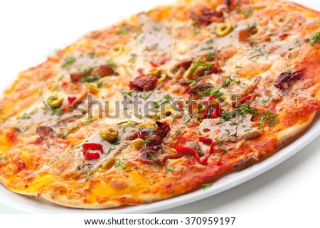 Meat Delicious Pizza - stock photo