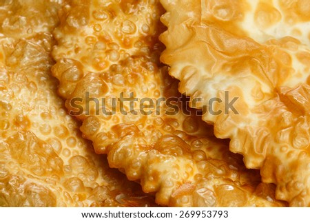Meat Empanada or Cheburek. Meat Pie. traditional snack originally from Spain and Russia - stock photo