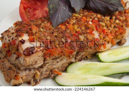 meat food style with cucumbers - stock photo