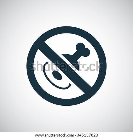 meat forbidden icon, on white background - stock photo