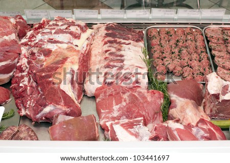 meat in the butcher's shop - stock photo