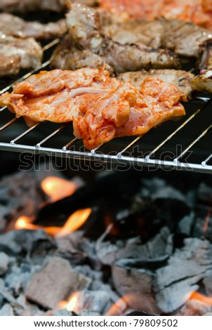 Meat is prepared on the grill - stock photo