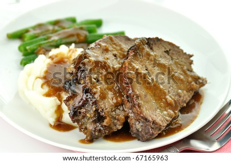 meat loaf with mashed potatoes and  green beans - stock photo