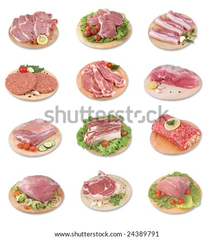 meat on white - stock photo