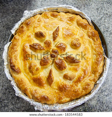 meat pie with beautiful patterns - stock photo