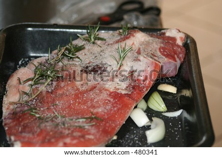 Meat Prepared to Bake - stock photo