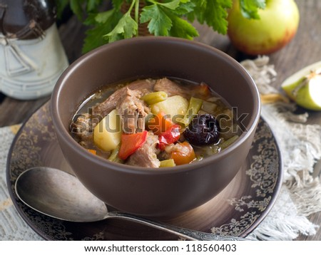 Meat soup with vegetable, selective focus - stock photo