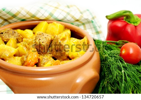 Meat stew with potato and vegetables - stock photo