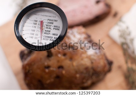 Meat thermometer in the meat closeup - stock photo