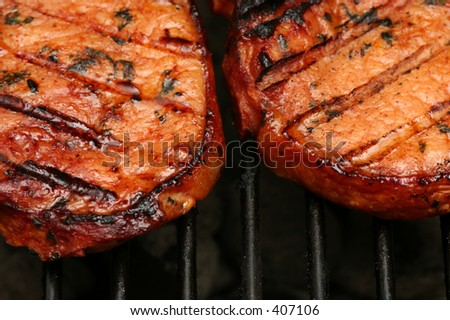 Meat with grillmarks sizzling on the BBQ - stock photo