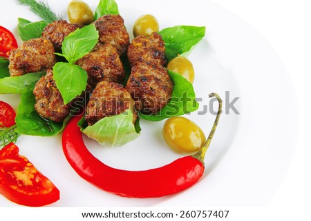 meatballs and vegetables with basil and vegetables - stock photo