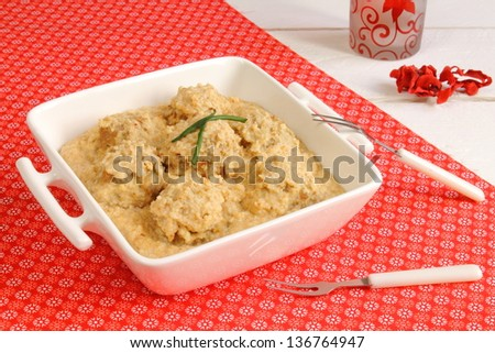 Meatballs in almond sauce - stock photo